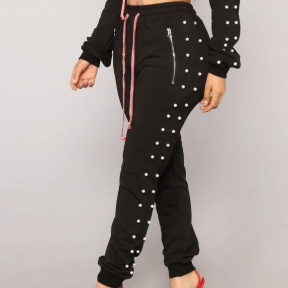 Fashion nova track pants with pearls on the side